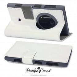 étui pour Nokia Lumia 1020 blanc folio avec fonction stand