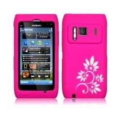 Coque silicone rose avec motifs fleurs blanches pour Nokia N8