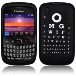 Coque silicone noire avec lettres oculiste pour Blackberry 9300 Curve 3G