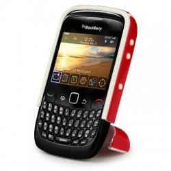 Coque rouge avec pied repliable pour Blackberry 9300 Curve 3G
