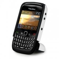 Coque blanche avec pied repliable pour Blackberry 9300 Curve 3G