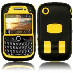 Coque bi-matière explorateur jaune et noire pour Blackberry 9300 Curve 3G