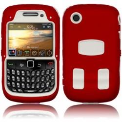 Coque bi-matière explorateur rouge et blanche pour Blackberry 9300 Curve 3G