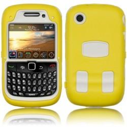 Coque bi-matière explorateur jaune et blanche pour Blackberry 9300 Curve 3G