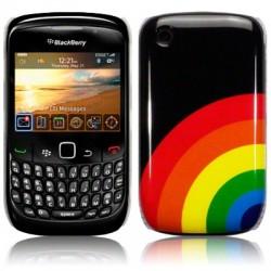 Coque noire avec motif arc en ciel pour Blackberry 9300 Curve 3G