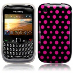 Coque pois roses sur fond noir pour Blackberry 9300