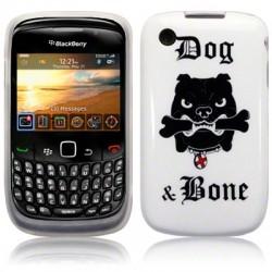 Coque blanche avec chien molosse pour Blackberry 9300