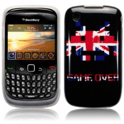 Coque noire avec Union Jack space invaders Blackberry 9300