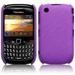 Coque bi-matières simili cuir pourpre pour Blackberry 9300