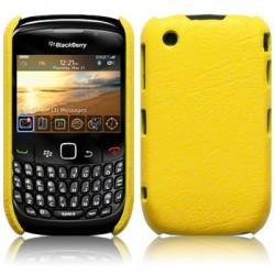 Coque bi-matières simili cuir jaune pour Blackberry 9300