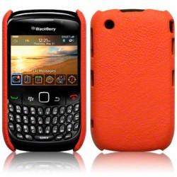 Coque bi-matières simili cuir orange pour Blackberry 9300