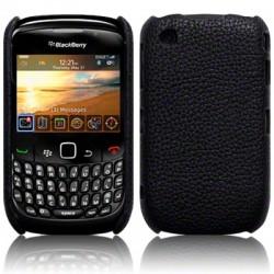 Coque bi-matières simili cuir noir pour Blackberry 9300