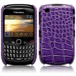 Coque bi-matières simili croco pourpre pour Blackberry 9300