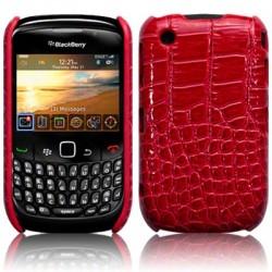 Coque bi-matières simili croco rouge pour Blackberry 9300
