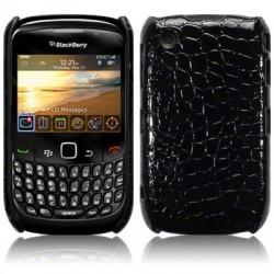 Coque bi-matières simili croco noir pour Blackberry 9300
