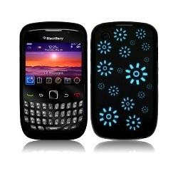 Coque silicone noire avec motif fleurs bleues pour Blackberry 9300