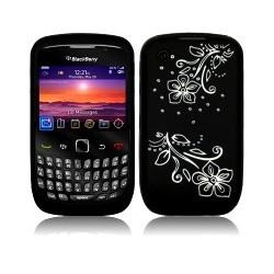 Coque silicone noire avec motif fleurs blanches pour Blackberry 9300