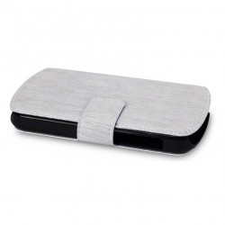 étui gris ouverture portefeuille pour BlackBerry Q10