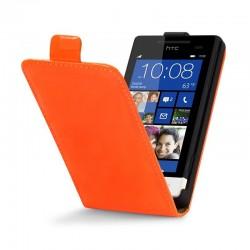 Etui orange fluo à clapet pour HTC 8S