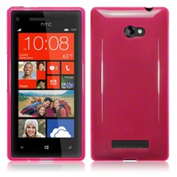 Coque rose translucide pour HTC 8x Windows Phone