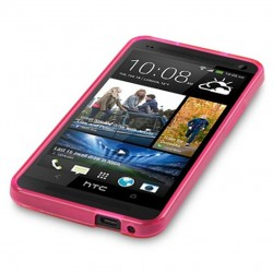 Coque rose translucide pour HTC One M7