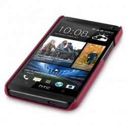 Coque rouge rigide touché gomme pour HTC One M7
