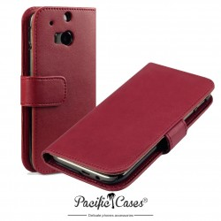 Etui rouge folio pour HTC One M8 (2014)