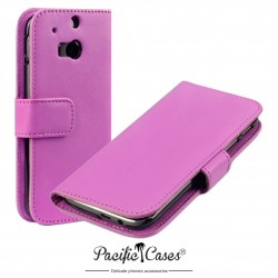 Etui rose folio pour HTC One M8 (2014)