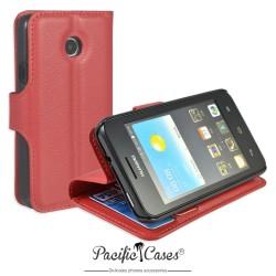 étui rouge pour Huawei Ascend Y330 ouverture folio et fonction stand par Pacific Cases®