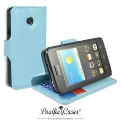 étui bleu clair pour Huawei Ascend Y330 ouverture folio et fonction stand par Pacific Cases®