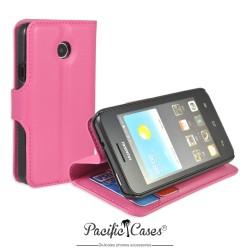 étui rose fushia pour Huawei Ascend Y330 ouverture folio et fonction stand par Pacific Cases®