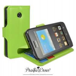 étui vert pour Huawei Ascend Y330 ouverture folio et fonction stand par Pacific Cases®