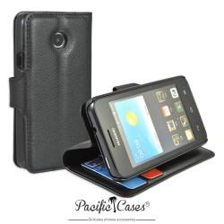 étui noir pour Huawei Ascend Y330 ouverture folio et fonction stand par Pacific Cases®