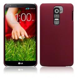 Coque rouge rigide touché gomme pour LG G2
