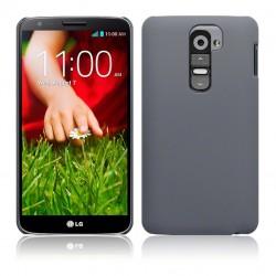 Coque grise rigide touché gomme pour LG G2