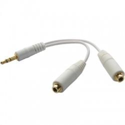 Câble double Jack pour deux casques blanc
