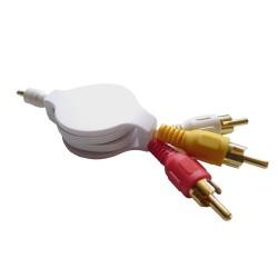 Câble audio vidéo RCA rétractable avec fiche Jack