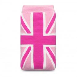 Etui chaussette universel drapeau UK fushia et fond rose