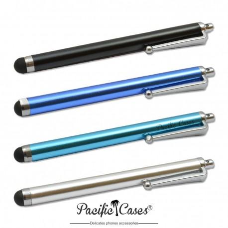 Lot 4 stylets capacitifs pour écran tactile marque Pacific Cases - noir bleu bleu clair argent