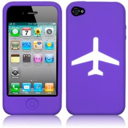 Coque silicone violet avec motif avion iPhone 4