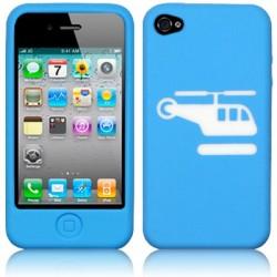 Coque silicone bleu avec motif hélicoptère pour iPhone 4