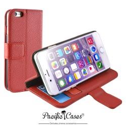 étui pour iPhone 6 folio et fonction stand rouge marque Pacific Cases®