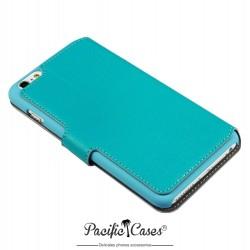 étui pour iPhone 6 Plus bleu turquoise folio fonction stand marque Pacific Cases