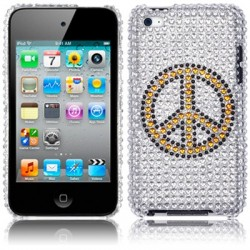 Coque rigide avec diamants motifs peace iPod Touch 4