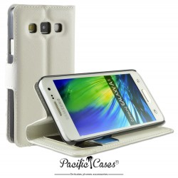 étui pour Samsung A3 ouverture folio et fonction stand par Pacific Cases® - blanc