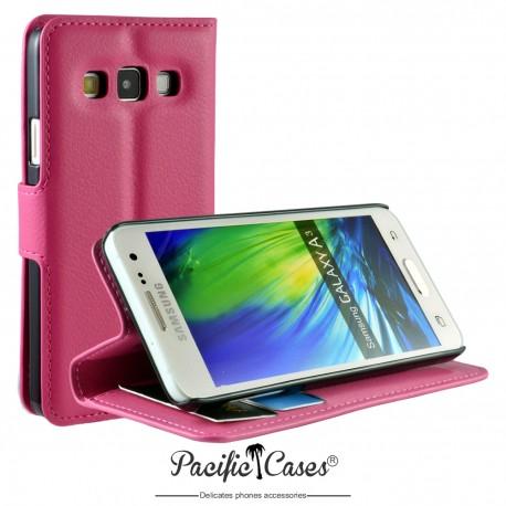 étui pour Samsung A3 ouverture folio et fonction stand par Pacific Cases® - fuschia