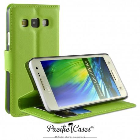 étui pour Samsung A3 ouverture folio et fonction stand par Pacific Cases® - vert