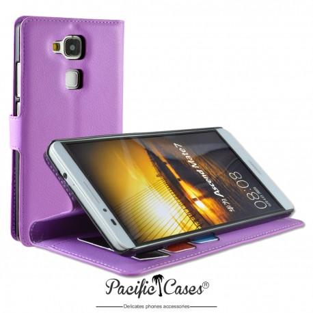 étui pour Huawei Ascend Mate 7 ouverture folio et fonction stand par Pacific Cases® - mauve