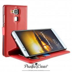 étui pour Huawei Ascend Mate 7 ouverture folio et fonction stand par Pacific Cases® - rouge