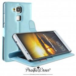 étui pour Huawei Ascend Mate 7 ouverture folio et fonction stand par Pacific Cases® - bleu clair
